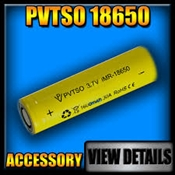 PVTSO IMR 18650, 2000mAh Battery, Flat Top
